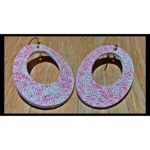 3/$20 Pink acid washed denim faux leather earrings